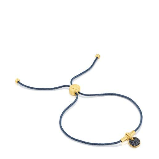 Silver vermeil Luah luna cord Bracelet with sapphires