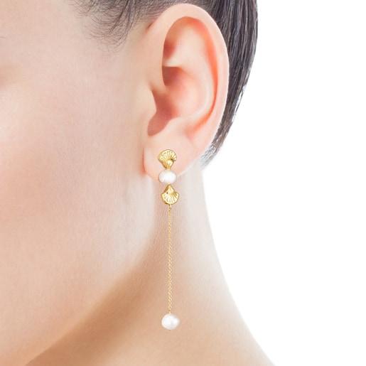Pendientes largos conchas de oro y perlas Oceaan
