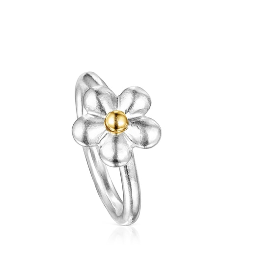 Two-tone Fragile Nature flower Ring
