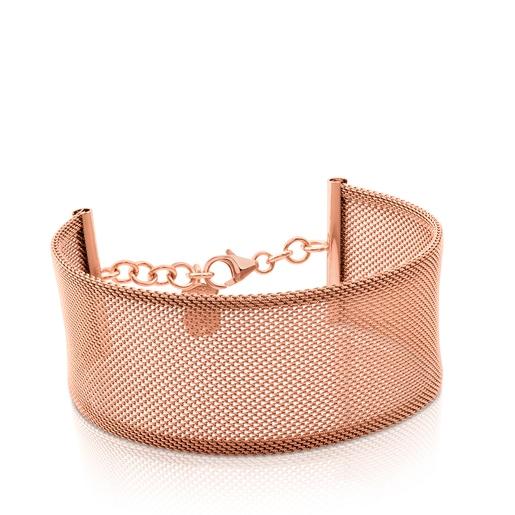 Armband Icon Mesh aus Stahl und rosa Vermeil-Silber