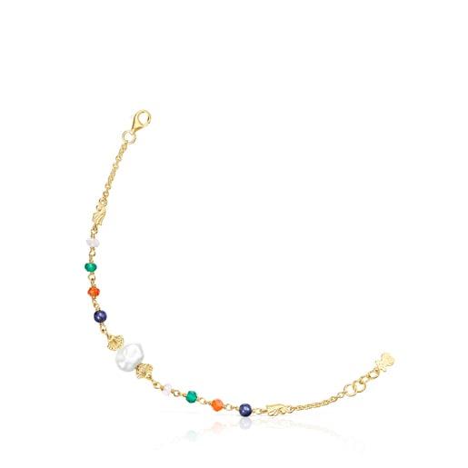 Silver vermeil Oceaan Color Bracelet with pearl and gemstones