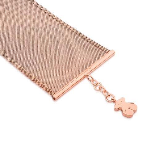 Pulsera de acero rosa y plata vermeil rosa 5 cm Icon Mesh