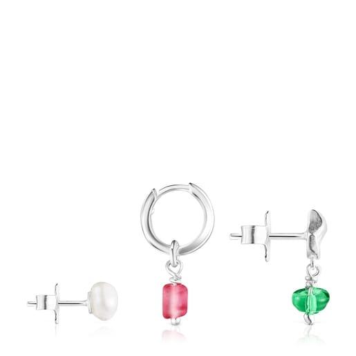 Pack de Pendientes concha-perla y glass rosa Oceaan