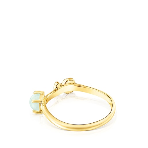 Silver Vermeil Fragile Nature Ring with Amazonite