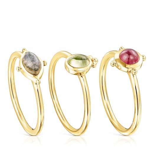 Pack de anillos Magic Nature de plata vermeil y gemas