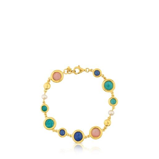 Pulsera de plata vermeil con amazonita, ópalo rosa, cuarzo con dumortierita y perla Alecia