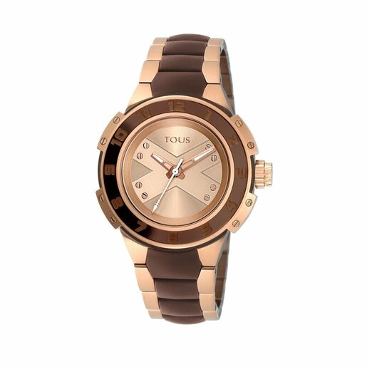 Two-tone pink/chocolate IP Steel Xtous Lady Watch