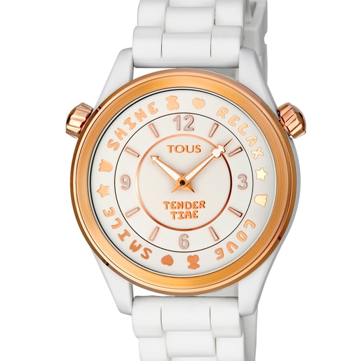 Rose IP steel Tender Time Watch with white silicone strap