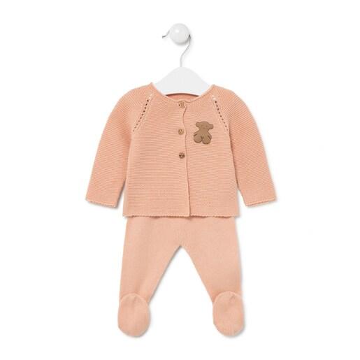 Conjunto de bebés recién nacido de tricot Salmón