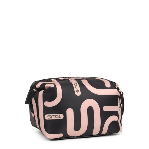 Large khaki and pink Shelby Logogram Toiletry bag
