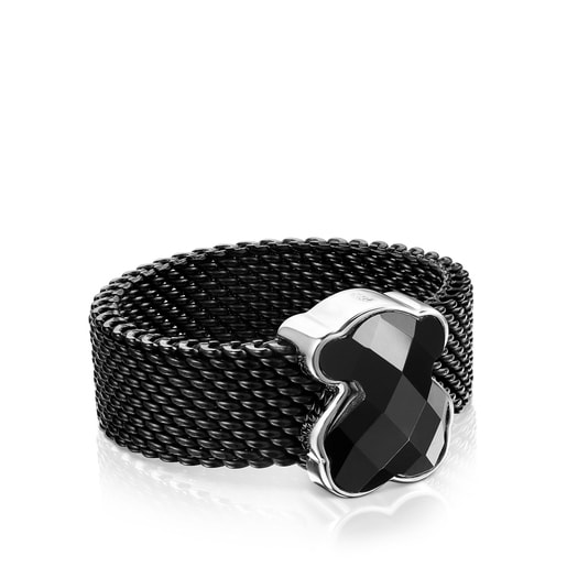 Black IP Steel Mesh Color Ring with Onyx Bear motif