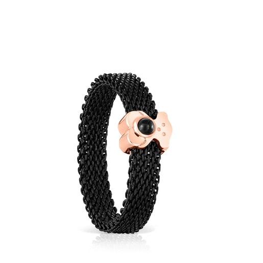 Anillo estrecho de acero IP negro y plata vermeil rosa con ónix motivo oso  Real Sisy