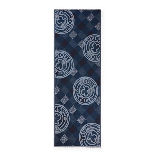 Fulard Kaos Mini Stamp de jacquard blau