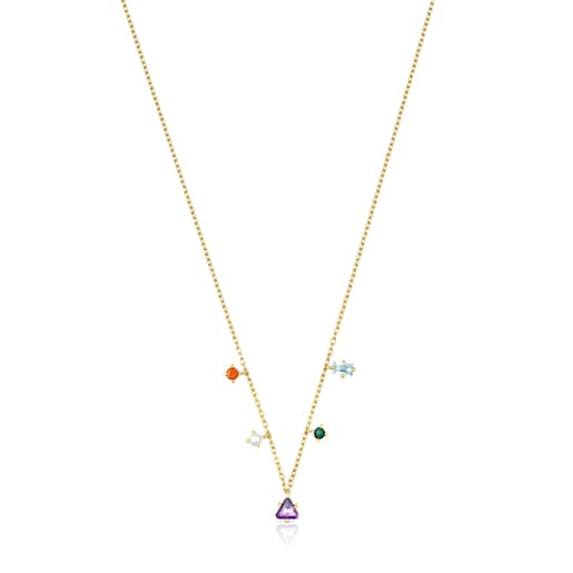 Silver Vermeil TOUS Good Vibes Necklace with Gemstones