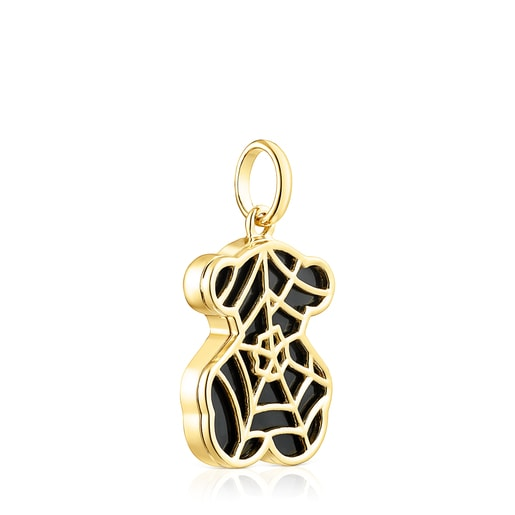 Small Silver Vermeil Fragile Nature Pendant with Onyx
