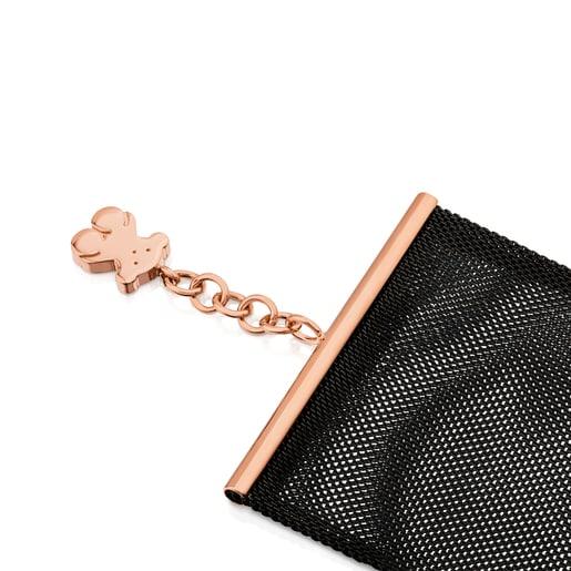 Pulsera de acero negro 5 cm con plata vermeil rosa Icon Mesh