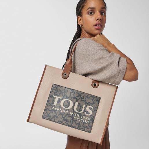 Große Shopping-Tasche Amaya Kaos Icon in Braun und Beige