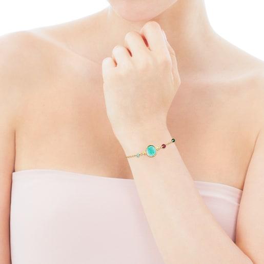 Kamee Armband Oceaan Color aus Vermeil-Silber mit grünem Glas