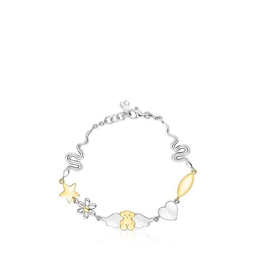 Bracelet Fragile Nature motifs en Acier/IP doré