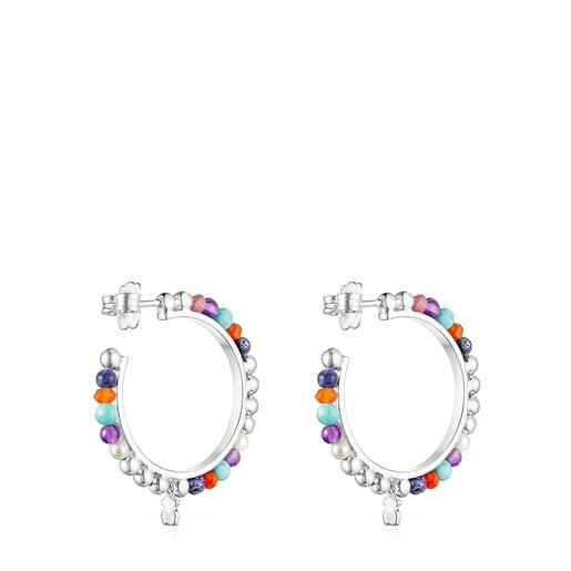Aretes aro de plata con perlas y gemas Oceaan Color