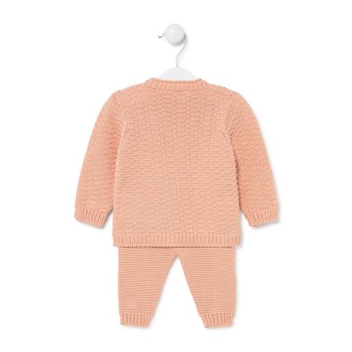 Conjunto de bebés de tricot Salmón