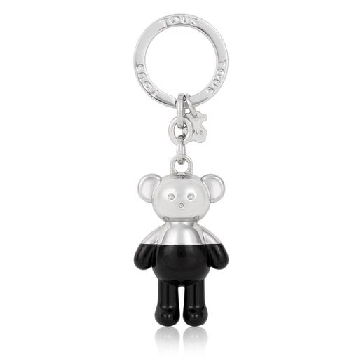 Llavero Teddy Bear plateado y negro
