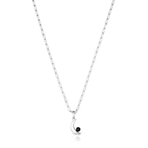 Silver Magic Nature moon Necklace with spinel