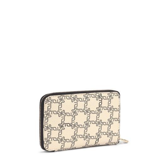 Small beige-black Tous New Logogram wallet