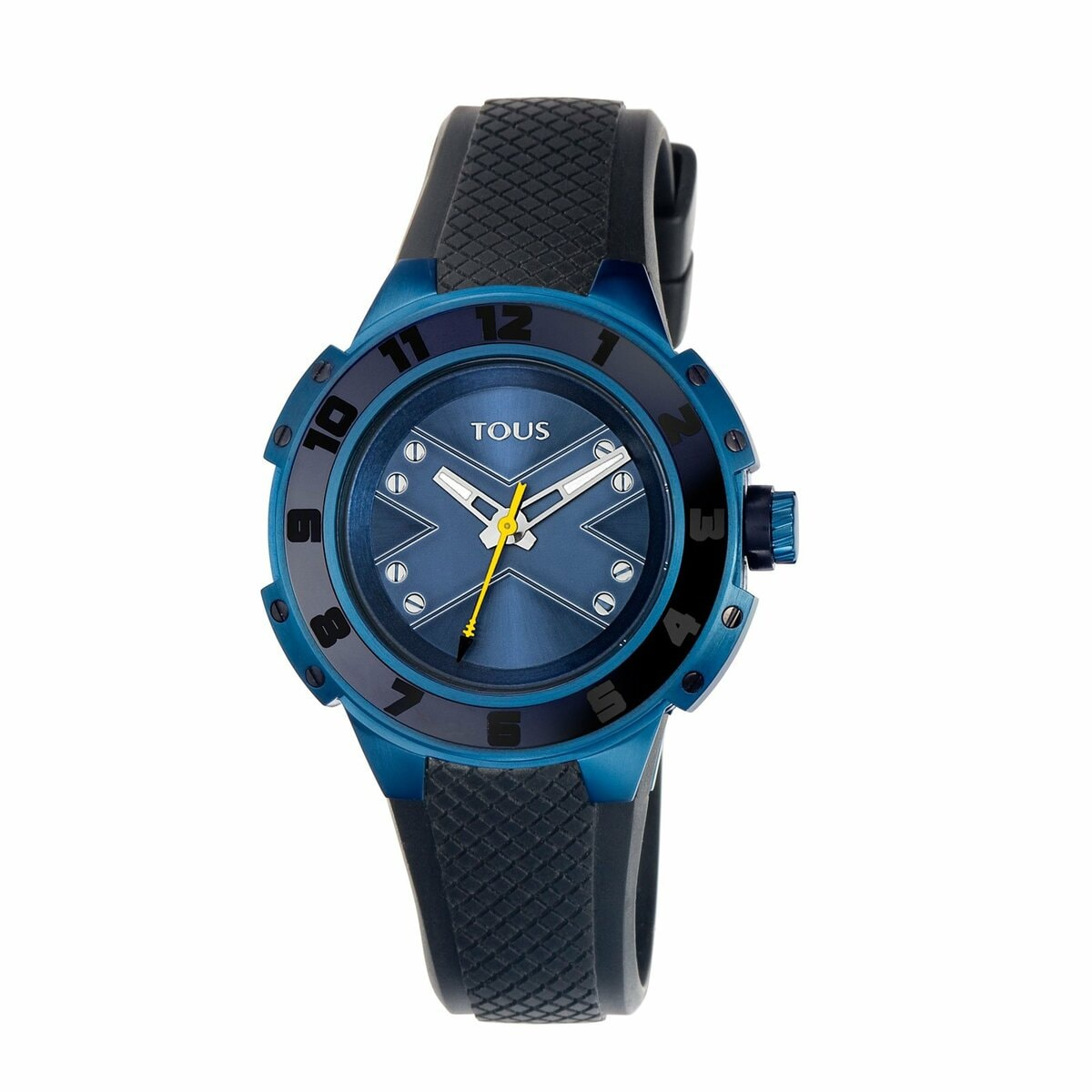 Two-tone blue/black IP Steel Xtous Lady Watch with black Silicone strap