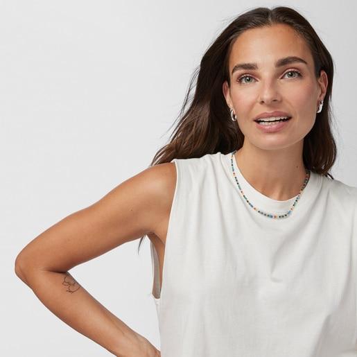 Enge Halskette TOUS Good Vibes aus Vermeil-Silber mit Edelsteinen