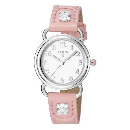 Uhr Baby Bear aus Stahl mit rosa Lederarmband
