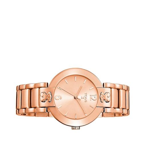 Pink IP Steel Plate Round Watch