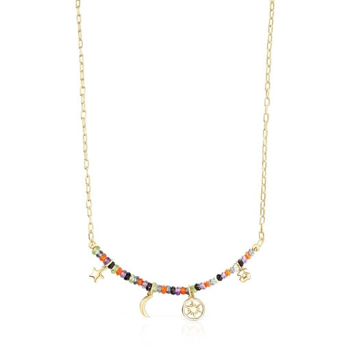 Silver vermeil Magic Nature Necklace with four charms and gemstones