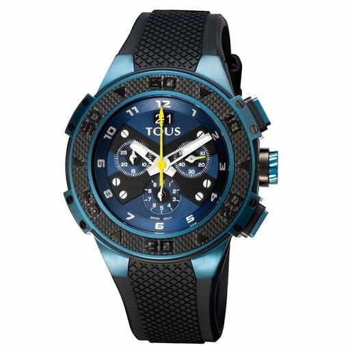 Relógio Xtous bicolor em Aço IP azul/preto com correia de Silicone preta