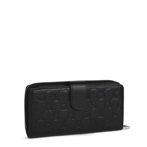 Medium black leather Tous Script wallet