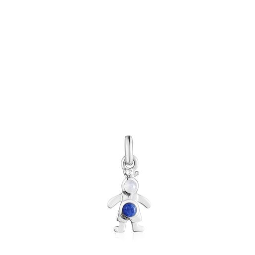 Silver TOUS Mama boy bow tie Pendant with Gemstones