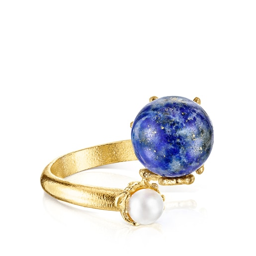 Silver vermeil Oceaan Color Ring with lapis lazuli and pearls