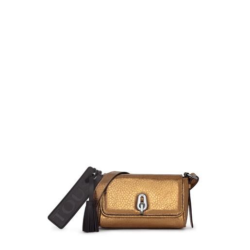 Mini Bridgy gold leather crossbody bag