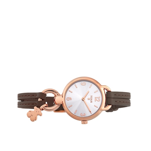 Rose IP Steel Hold Watch with brown Leather strap