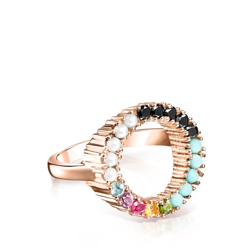 TOUS Straight disc Ring in Rose Silver Vermeil with muticolor Gemstones