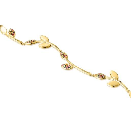 Silver Vermeil Real Mix Leaf Bracelet with Gemstones