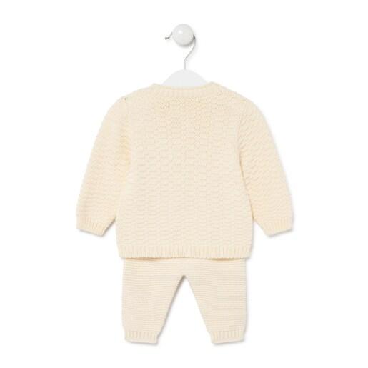 Conjunto de bebés de tricot Crudo