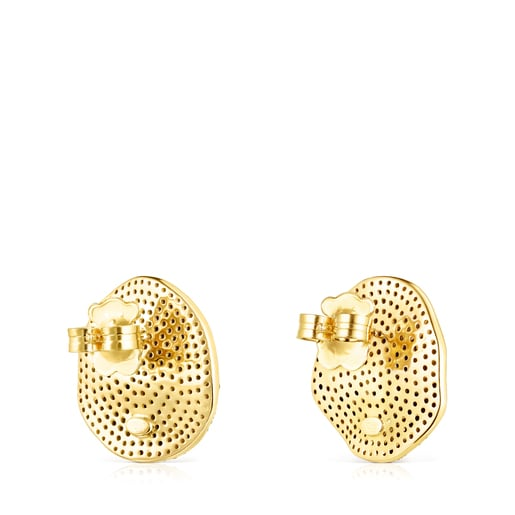 Large Silver Vermeil Nenufar Earrings with Diamonds