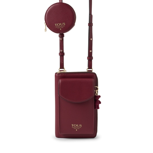 Burgundy T Pop Cell phone cover and Hanging wallet
