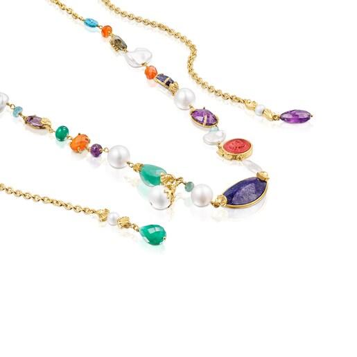 Long silver vermeil Oceaan Color Necklace with gemstones