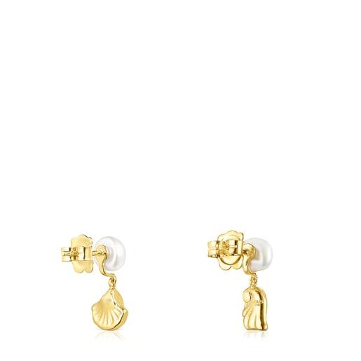 Pendientes concha-anemona de oro y perlas Oceaan