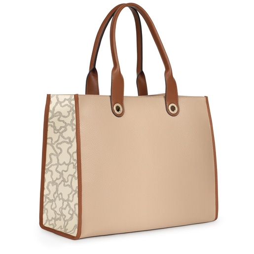 Shopping grande Amaya Kaos Icon marrón y beige