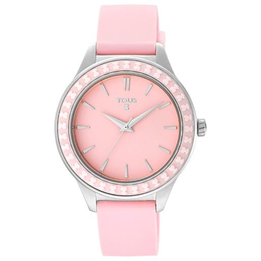 Reloj Straight Ceramic de acero y bisel de cerámica con correa de silicona rosa