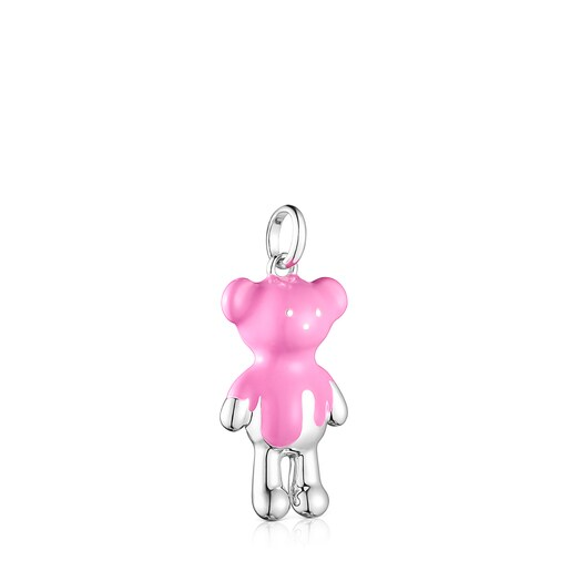 Silver Teddy Bear Pendant with pink enamel - Online exclusive