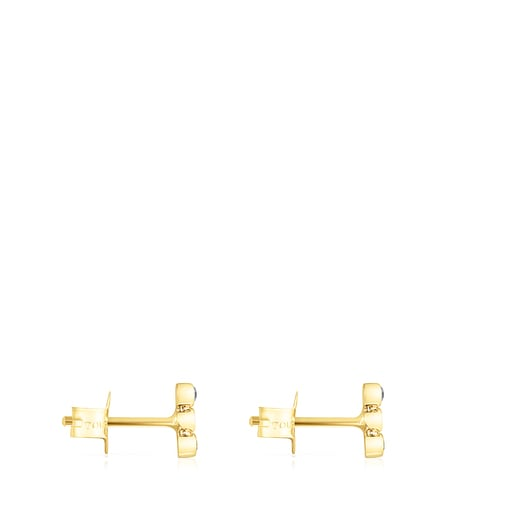 Gold Straight Color Earrings with Gemstones